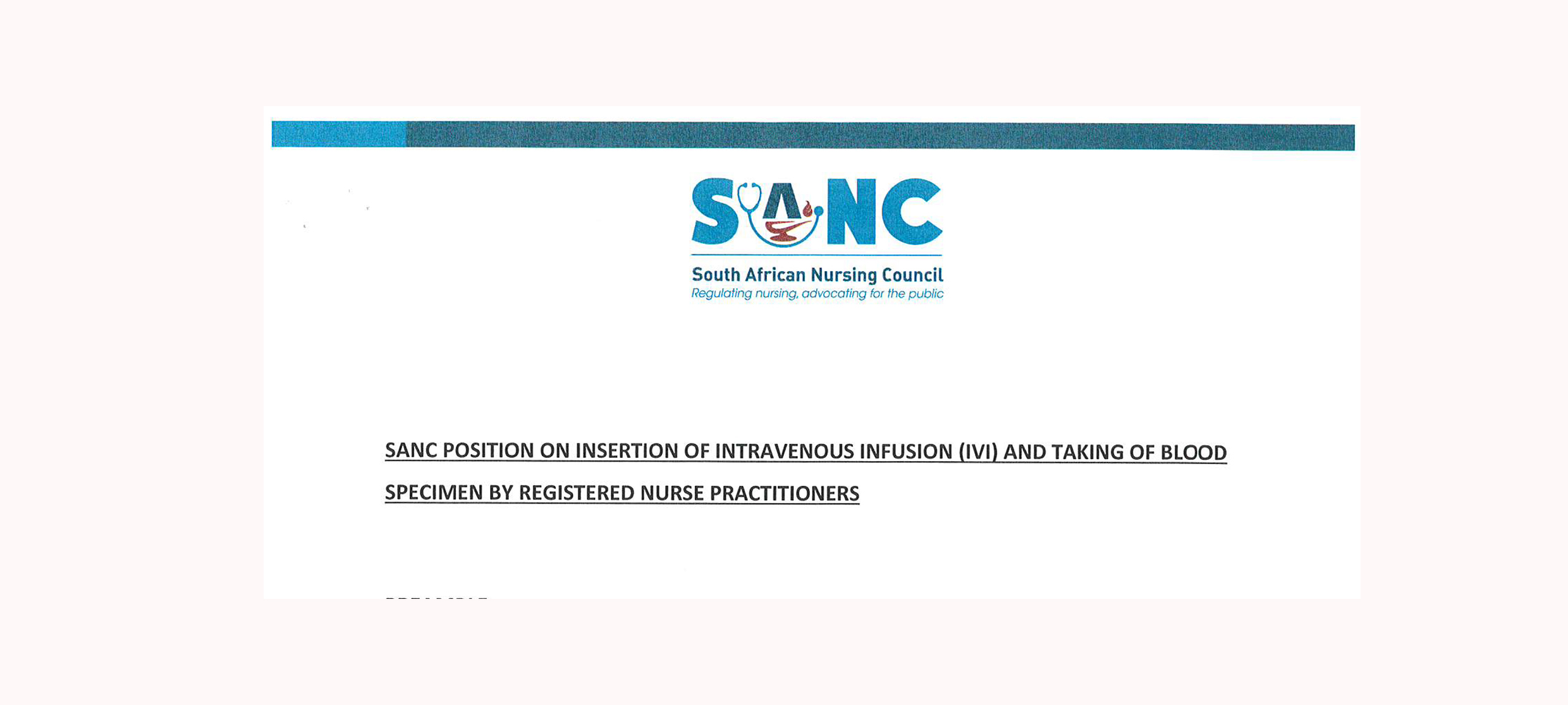 SANC Position Statement – on issuing of sick notes by Professional Nurse Practitioners