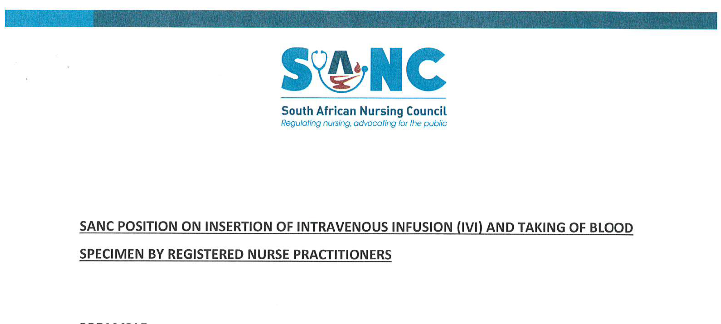 SANC Position on insertion of intravenous infusion IVI and taking of blood specimen by Registered Nurse Practioners